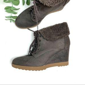 DANA BUCHMAN Wedge Heel Ankle Booties Gray 9.5